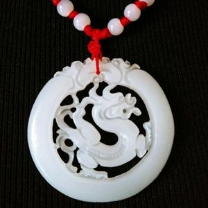 Jewelry - White jade dragon medallion w/rope necklace